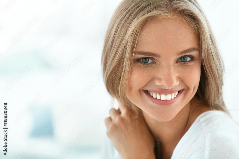Fototapety, obrazy: Portrait Beautiful Happy Woman With White Teeth Smiling. Beauty. High Resolution Image