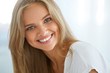 Leinwandbild Motiv Portrait Beautiful Happy Woman With White Teeth Smiling. Beauty. High Resolution Image