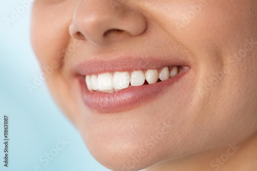 Closeup Of Beautiful Smile With White Teeth. Woman Mouth Smiling. High Resolution Image #118631087