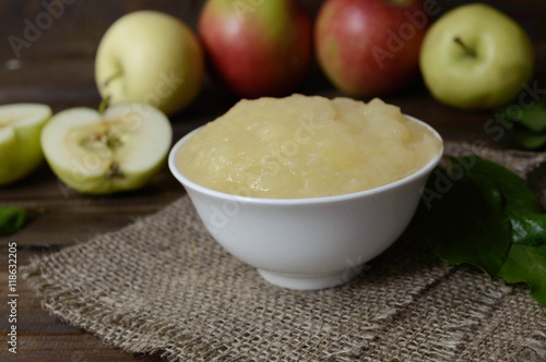 Photo homemade puree from apples
