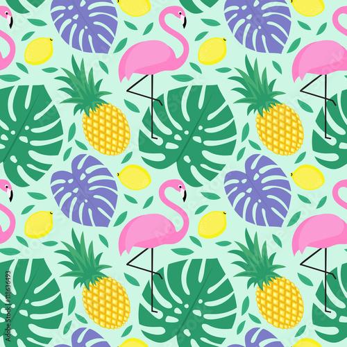 Materiał do szycia Liście bezszwowe tło dekoracyjne z flamingo, ananas, cytryny i zielone palmy. Monstera tropikalny liści wzór z tropikalnych owoców i ptaków egzotycznych. Projekt dla tekstylnych, Tapety, tkaniny itp.