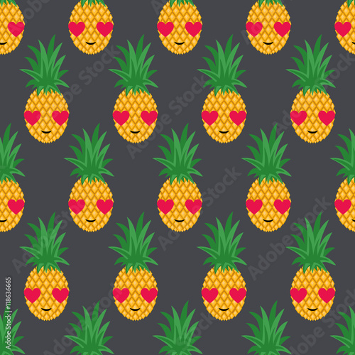 Pineapples In Love Seamless Pattern Vector Pineapple Background Cute Summer Fruit Illustration Exotic