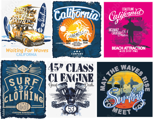 Photo  Surf sport typography, t-shirt graphics, vectors