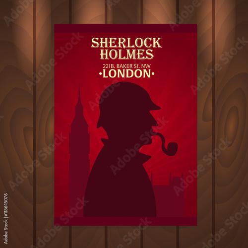 Cuadros en Lienzo Sherlock Holmes poster. Baker street 221B. London. Big Ban