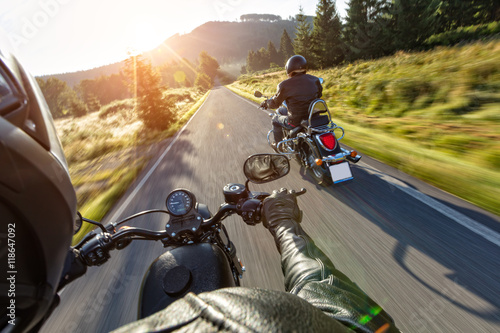 Deurstickers Fiets Motorcycle drivers riding on motorway