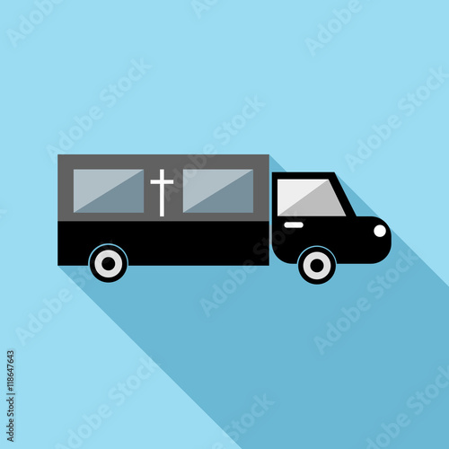 Fotografie, Obraz  Hearse icon in flat style with long shadow. Transport symbol