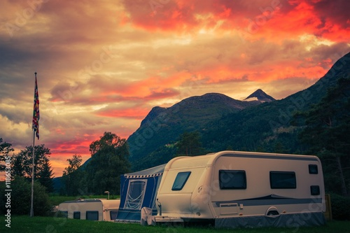 Poster Camping Scenic Camping Sunset