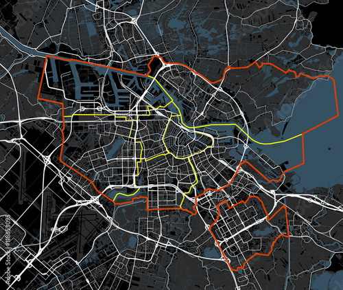 Photo  Black and white Amsterdam map vector. Netherlands roads