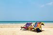 sun beach chairs at the beach