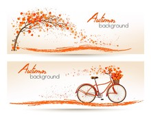 Two Autumn Banners With Colorful Leaves And Bicycle Vector