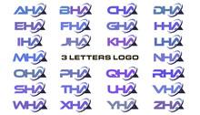 3 Letters Modern Swoosh Logo AHA, BHA, CHA, DHA, EHA, FHA, GHA, HHA, IHA, JHA, KHA, LHA, MHA, NHA, OHA, PHA, QHA, RHA, SHA, THA, UHA, VHA, WHA, XHA, YHA, ZHA.