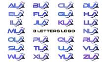 3 Letters Modern Swoosh Logo ALA, BLA, CLA, DLA, ELA, FLA, GLA, HLA, ILA, JLA, KLA, LLA, MLA, NLA, OLA, PLA, QLA, RLA, SLA, TLA, ULA, VLA, WLA, XLA, YLA, ZLA.
