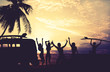 Art photo styles of silhouette surfer party on beach at sunset - vintage color tone