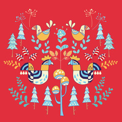 Panel Szklany Skandynawski Scandinavian style illustration floral and animal.