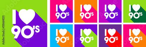Deurstickers Pop Art I love 90's