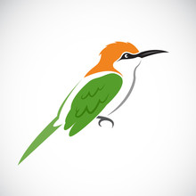 Vector Of Bird On White Background. Green Bee-eater