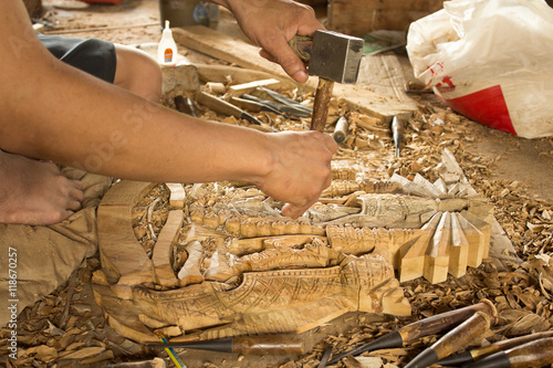 gouge wood chisel carpenter tool working wooden background