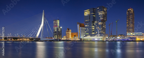 Spoed Fotobehang Rotterdam Rotterdam Panorama. Panoramic image of Rotterdam, Netherlands during twilight blue hour.