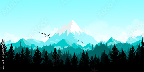 Poster Bleu clair Landscape mountains and forest