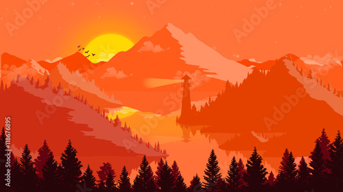 Spoed Foto op Canvas Oranje eclat Flat landscape Sunset and islands