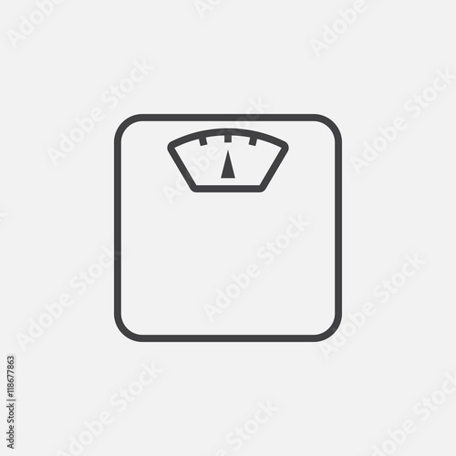 Fotografía  Weight scale line icon, outline vector logo illustration, linear pictogram isola