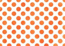 Watercolor Orange Polka Dot Background.