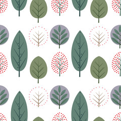Fototapeta Do przedszkola Decorative leaves seamless pattern. Cute nature background with trees. Scandinavian style forest vector illustration. Design for textile, wallpaper, fabric.