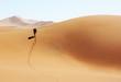 canvas print picture - Mann laeuft durch die Wüste von Namibia