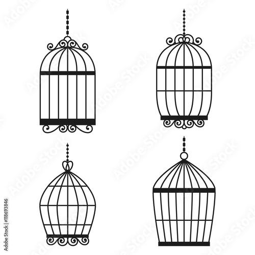 Fotografie, Obraz  Silhouette birdcages collection set.
