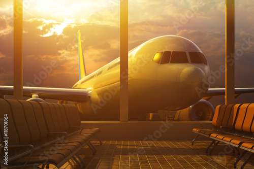 Poster Aeroport Business air travel by plane, departure or arrival concept, empty airport terminal lounge room interior with passenger airplane behind windows in the light of the evening sun