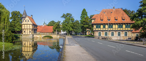 Obraz na płótnie Panorama of the castle and watermill in Steinfurt