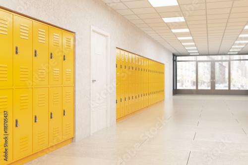 Tableau sur Toile Lockers and door in school corridor
