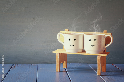 Fotografija  Couple coffee cups. Romance and weekend concept