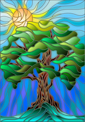 Naklejka Illustration in stained glass style with tree on sky background and sun