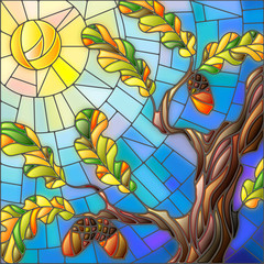 Naklejka Illustration in stained glass style with oak leaves on background sky and sun