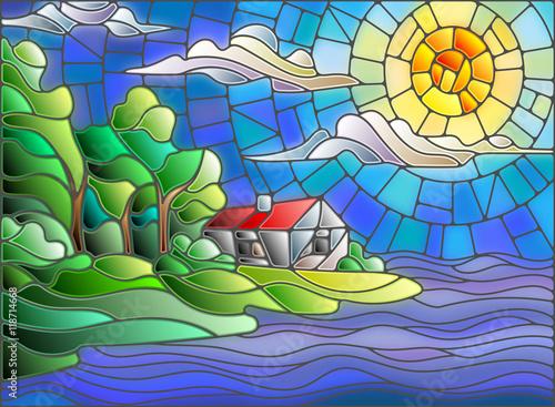 obraz-w-krajobrazie-w-stylu-witrazu-z-samotnym-domem-na-tle-nieba-i-morza