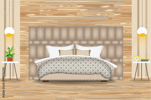 Modern Style Interior Design Vector Illustration Bed In Front Of Parquet Wall Side Tables Chandeliers Artwork Cartoon Bedroom Elevation Bedding And Furniture Buy This Stock Vector And Explore Similar Vectors At Adobe Stock Adobe