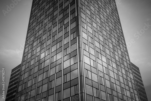 Office complex of high-rise buildings. Black and white. Poster