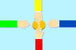 Grapkic vector of hand reaching touch money
