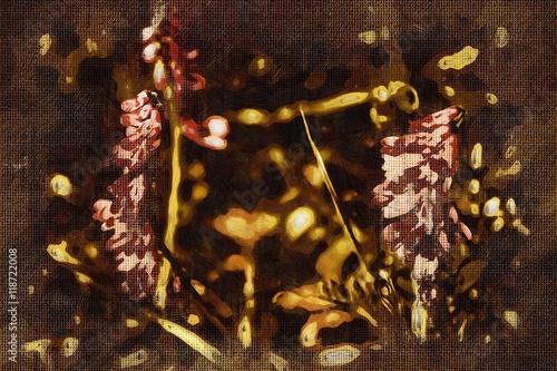 Printed kitchen splashbacks Beer / Cider Vintage background with art illustration flower