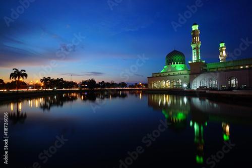 Sunset of Kota Kinabalu City Floating Mosque, Sabah Borneo Malaysia.