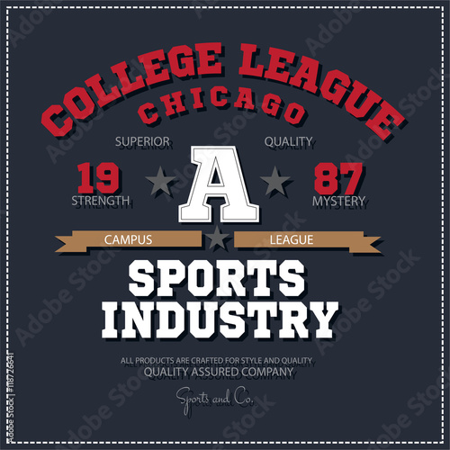 bc8a3034 Sport athletic champions college league Chicago logo emblem. Vector Graphics  and typography t-shirt design for apparel.
