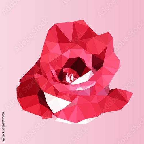 wielokąta czerwona róża. poli niski geometryczny trójkąt wektor kwiat