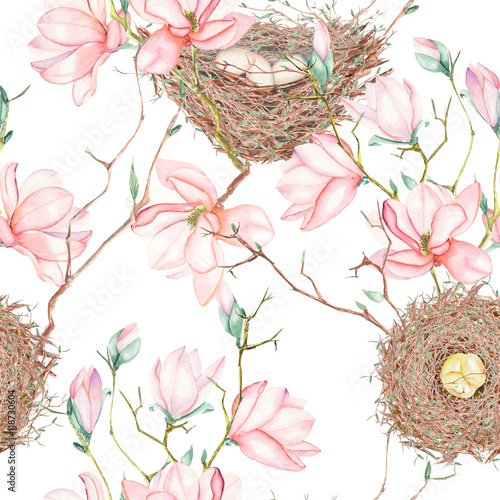 Cotton fabric Seamless pattern of the watercolor bird nests on the tree branches with spring magnolia flowers, hand drawn on a white background