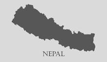 Gray Nepal Map - Vector Illust...