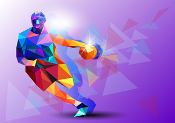 Fototapeta Koszykówka Polygonal geometric professional basketball player on colourful low poly background