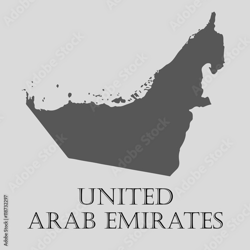 Canvas Print Gray United Arab Emirates map - vector illustration