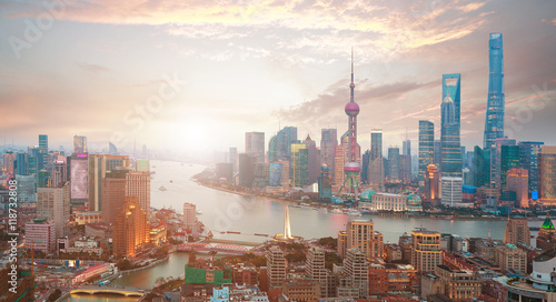 Fotobehang Shanghai Aerial photography at Shanghai bund Skyline of sunrise
