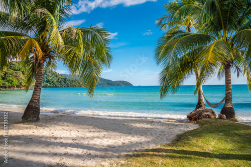Beautiful tropical island beach, Koh Kood island Thailand - Travel summer holiday vacation concept.