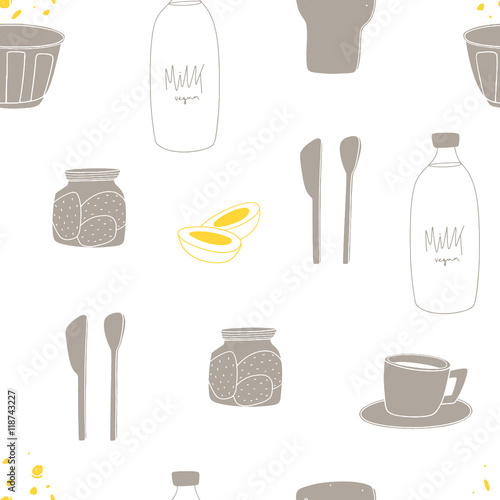 Seamless Breakfast Pattern Hand Drawn Cartoon Background Made Of Morning Food Perfect For Kitchen Items Buy This Stock Vector And Explore Similar Vectors At Adobe Stock Adobe Stock